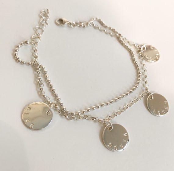 coin namnarmband med 4 coins namnsmycke