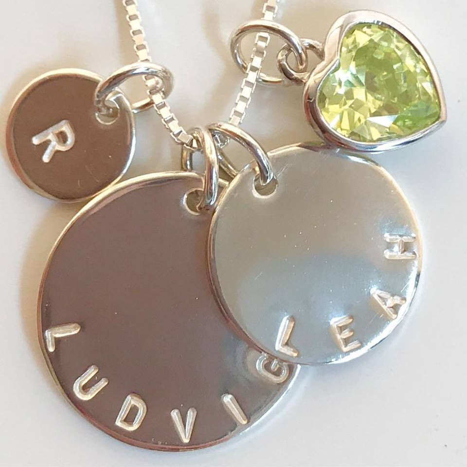 Name Necklace with monthly stone e9b6c3d102489