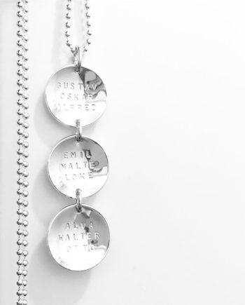 Coins på rad namnhalsband