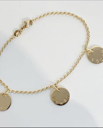 Coin namnarmband i guld