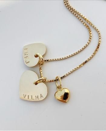 guldhjärta med namn 18k