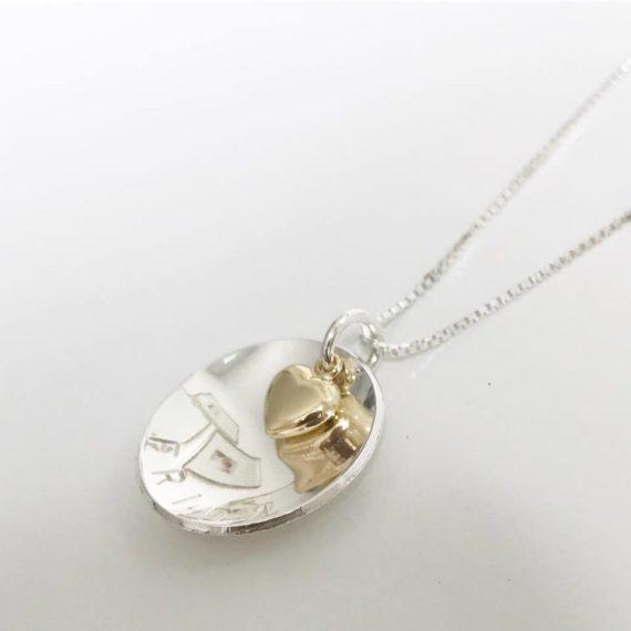 namnhalsband coin med guldhjärta