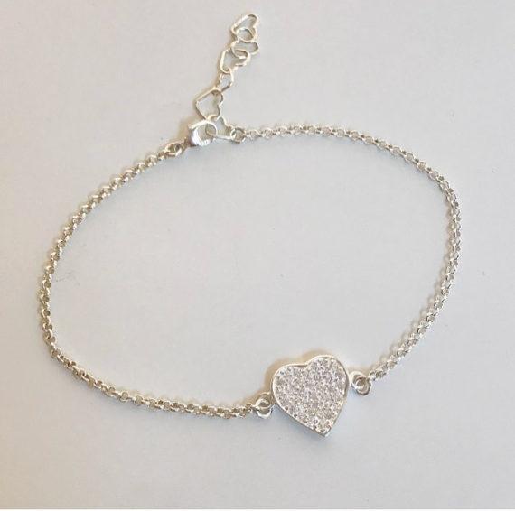 Armband med glitterhjärta